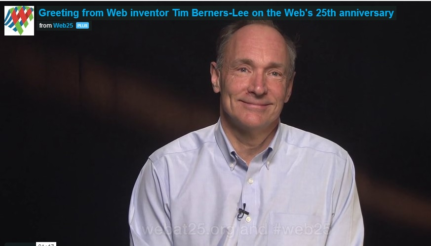 Screenshot of Sir Tim-Berners Lee in a video message at Web25.org